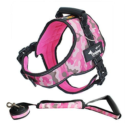 Kingcoowi Dog Vest Harness+Dog Leash Pet Chest Strap Night Light Reflective Rope Dog Leash Adjustable Dog Harness Dog Body Padded Vest (M, Suit Camouflage Pink)