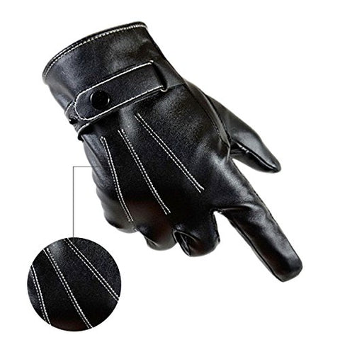 URSMART Waterproof Mens Touchscreen PU Faux Leather Winter Gloves Driving Fleece Lining Black (Black)