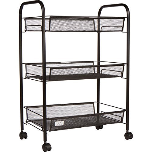 Magnificent 3 Tier Utility Cart Kitchen Storage With Rolling Wheels Metal Mesh Wire Basket Trolley Black Home Interior And Landscaping Oversignezvosmurscom
