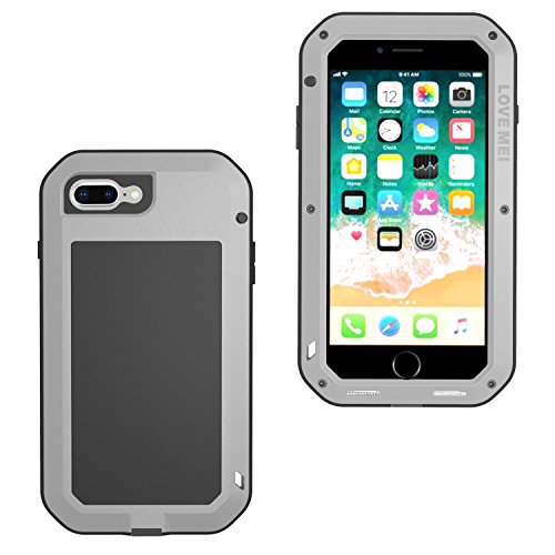brand new 96604 3425b iPhone 7 Plus Case, iPhone 8 Plus Case, LOVE MEI Zinc Alloy Frame Silicone  Gel Shockproof Dustproof Drop Proof Full Body Protection with Tempered ...