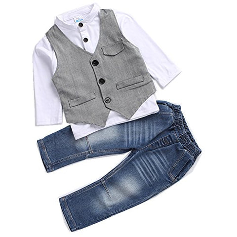 Kids Boys Clothing Sets Shirt and Vest Jeans Clothes Suit for 2 to 5 Age Little Boy (3T)