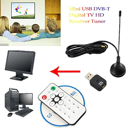[Digital TV HDTV Stick Tuner Recorder Receiver],Mini USB DVB-T Digital TV HD Receiver Tuner Stick OSD MPEG-2/4 For Laptop PC (Black)