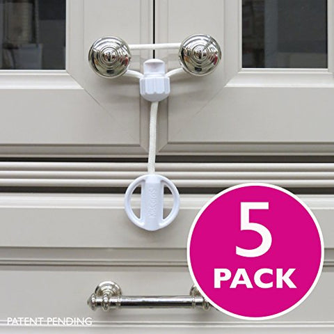 Kiscords Baby Safety Cabinet Locks for Knobs Child Safety Cabinet Latches for Home Safety Strap for Baby Proofing Cabinets Kitchen Door Rv No Drill No Screw No Adhesive / Color White/ 5 Pack Ez-twist