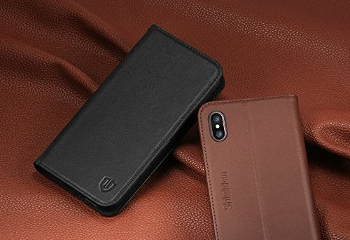 5d8e9db310b SHIELDON Genuine Leather iPhone X Wallet Magnetic Case [Heavy Duty  Protection] with Book Style