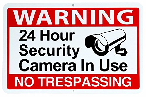 "1 Pc Superb Popular Warning 24 hour Sign Property Waterproof Camera Recording Video Surveillance Size 11"" x 7"""