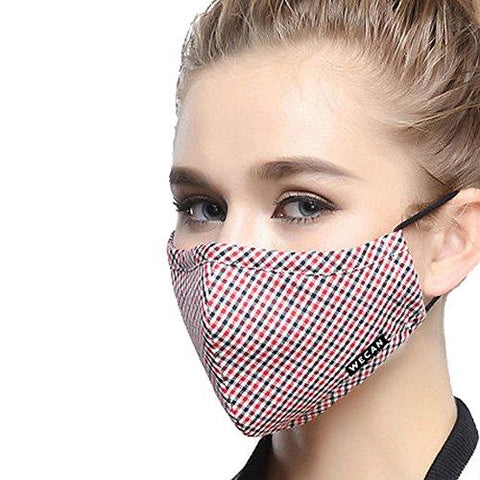 ZWZCYZ Masks Dust Mask Anti Pollution Mask PM2.5 4 Layer Activated Carbon Filter Insert Can Be Washed Reusable Masks Cotton Mouth Mask for Men Women (Medium(Women's), Red With Black Grid)