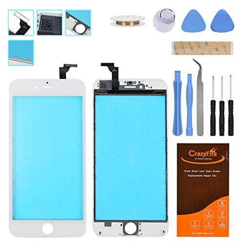 iPhone 6 Plus Touch Screen Display Assembly Digitizer Replacement Tool Kit,CrazyFire Screen Touch Panel with Frame Assembly for iPhone 6s Plus with Tools Kit and Adhesive(White)