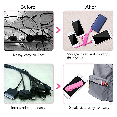 Multi USB cable for iPhone micro Android ,Portable USB Cable High Speech  USB 2 0 sync and charging cables for iPhone 4,5,6,7,8 Samsung Kindle,