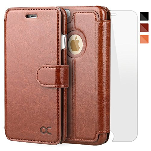 OCASE iPhone 6 Case iPhone 6S Case [Screen Protector Included] Leather Wallet Case [Slim Fit] - For Apple iPhone 6 / 6S Devices - Brown