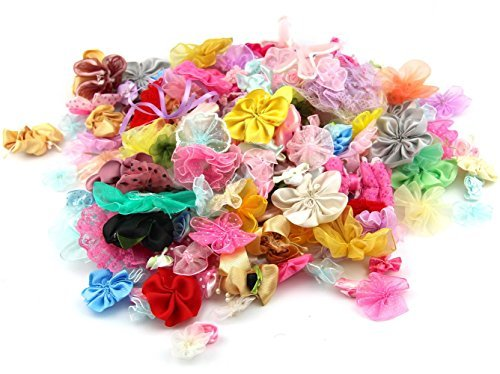 RayLineDo Pack of 100g Chiffon Ribbon Mixed Colors of Various Shaped Artificial Handmade Flowers for DIY, Sewing, Crafting, Hair Accessory And Gifts Wrapping