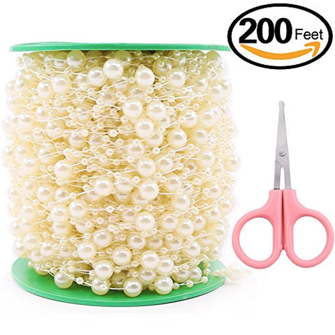 Swpeet 200 Feet Ivory Pearl Strands with Scissors, Large Pearls Faux Crystal Beads Pearl String Garland by the Roll Perfect for Wedding Party / Decoration / Party Supplies