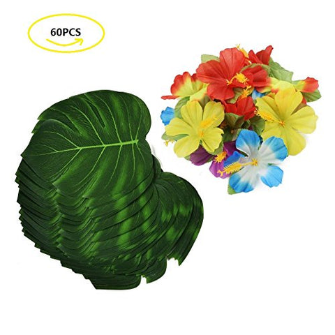 "Transfertex 60PCS Tropical Party Supplies 8"" Simulation Imitation Palm Leaves and Hibiscus Flowers for Hawaiian Luau Party Jungle Beach Theme Table Decorations"