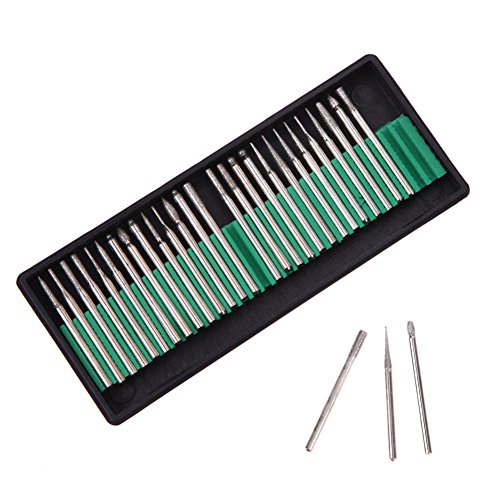 Best Garden Tools Practical Good Quality 30pcs Diamond Burr Glass Drill Bits for Engraving Rotary Tool Set 3mm Shank