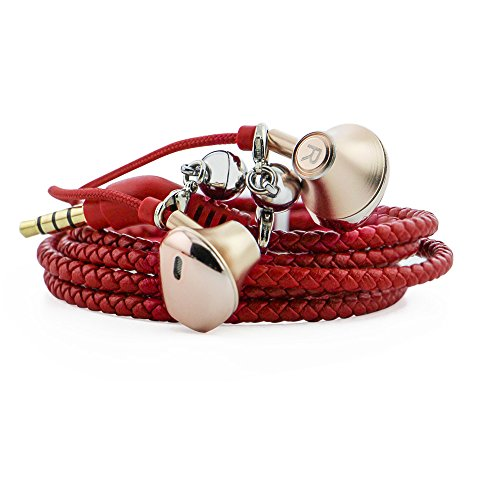 URIZONS Earphones, Headphones, Headsets With Microphone and Remote for iPhone, iPad, Mac, Laptop, Android Devices PU Braided Wearable Bracelet Style Color Red