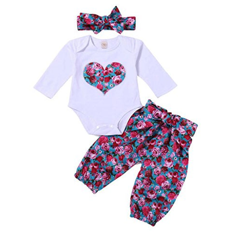 Cuekondy Infant Toddler Baby Girls Love Print Romper Jumpsuit Playsuit +Headband +Pants Outfit Clothes 3PC Set 6-24 Months (Red, 12M)