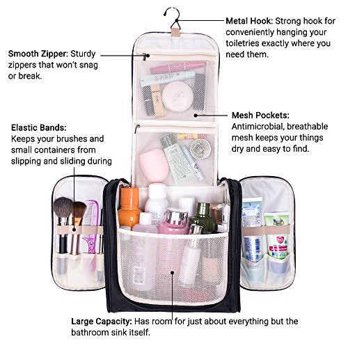 2b814ba44b24 Large Hanging Travel Toiletry Bag - MelodySusie Heavy Duty Waterproof Makeup  Organizer Bag Shaving Kit Toiletry Bag ...