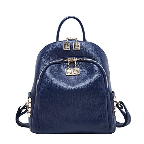 3d08d1a0f1 BOYATU Women Mini Genuine Leather Backpacks Luxury Travel Bags Small  Daypack (Blue)