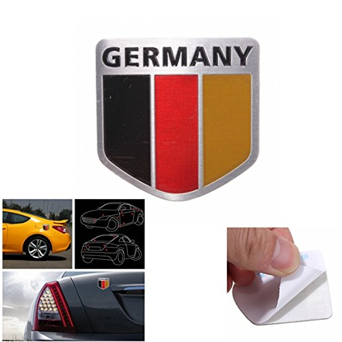 Exterior Accessories - German Flag Decal Germany Emblem Audi Accessories Jetta Stickers Cars - Aluminum Germany Flag Shield Car Emblem Badge Decals Sticker Truck Auto - German Stickers For Cars - 1PCs
