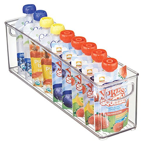 "mDesign Baby Food Kitchen Refrigerator Cabinet or Pantry Storage Organizer Bin with Handles for Pouches, Jars, Bottles, Formula, Juice Boxes – BPA Free, 16"" x 4"" x 5"", Clear"