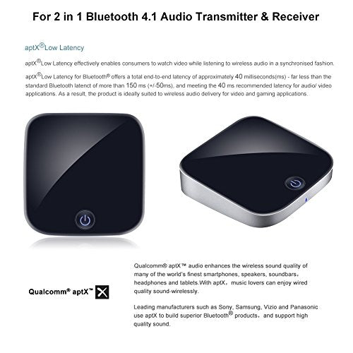 Giveet 2-in-1 Bluetooth Transmitter Receiver Digital Optical Toslink and  3 5mm Wireless Audio Adapter for TV Home Car Stereo System, Bluetooth 4 1,