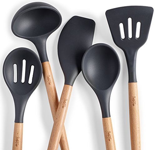 Portofino 5 Pc Kitchen Utensil Set Premium Natural Beech Wood Silicone Home Cooking Utensils Wooden Food Prep Tools Soup Ladle Slotted