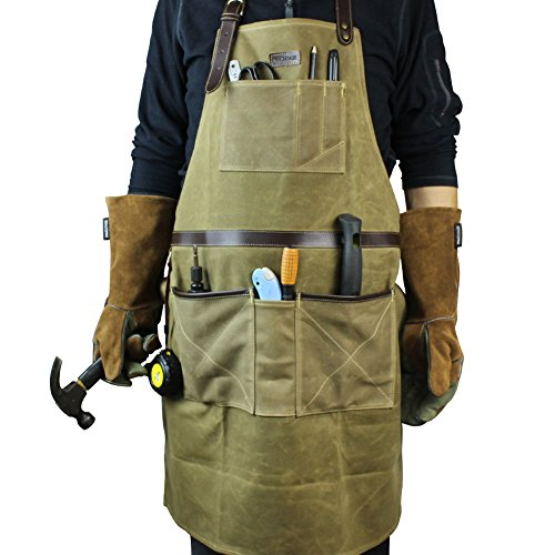 INNO STAGE Tools Apron,Waxed Canvas Work Bib Aprons with Pockets,Full  Coverage Utility Apron,Hand Tool Organizers,Gardening Carpentry Lawn Care