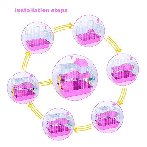 Hamster Cage Small Animal Cage Habitat Pet Cage For Hamster Dwarf Syrian  Gerbil Mouse Rat 2 Storey Hamster Cage House With Toys (Pink)