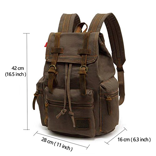 VDSL-AUGUR SERIES Vintage Canvas Leather Backpack Hiking b4eb1276ebd27