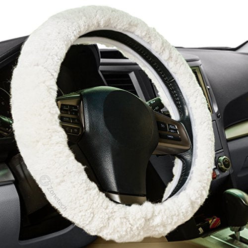 Zone Tech Luxurious Non-slip Car Decoration Steering Wheel Plush Cover – White Authentic Sheepskin Thermal Steering Wheel Cover