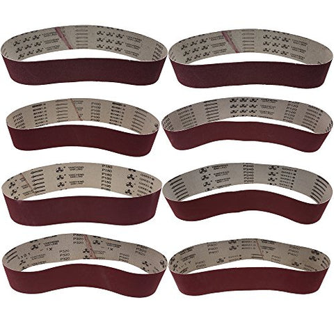 CENDGOOD 4 x 36-Inch Sanding Belt 60 80 100 120 180 240 320 400 Grit Assortment Aluminum Oxide Pack of 8
