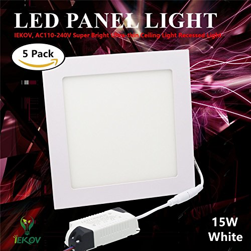 IEKOV LED Panel Light, trade; AC110-240V Super Bright Ultra-thin Ceiling Light Recessed Light, 1100lm, Cool White-6000K, 7.5 x 7.5 Inch, Cut Hole 7.1 Inch, 15W Square (5 Pack)