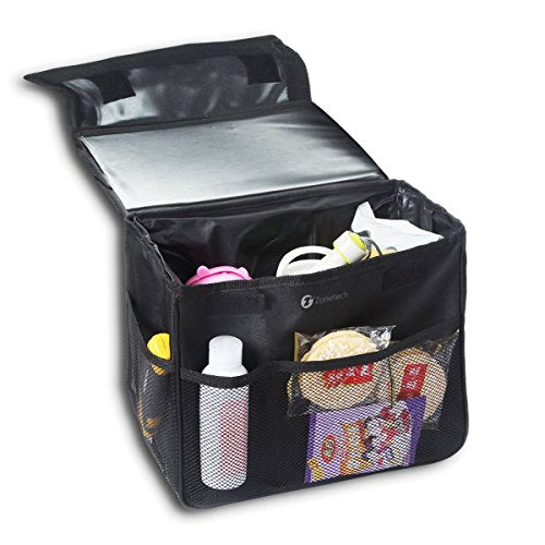 Zone Tech Multipurpose Collapsible Portable Car Storage Organizer - Classic Black Premium Quality Fabric Multipurpose Collapsible Versatile Portable Car Storage Organizer