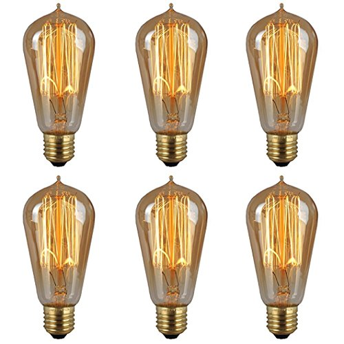 6-Pack Edison Light Bulb 40W Dimmable Vintage Antique Style Light Bulbs-Incandescent Clear Teardrop Squirrel Cage Design E26 E27 Medium Base Lamp for Chandeliers Wall Sconces Pendant Lighting