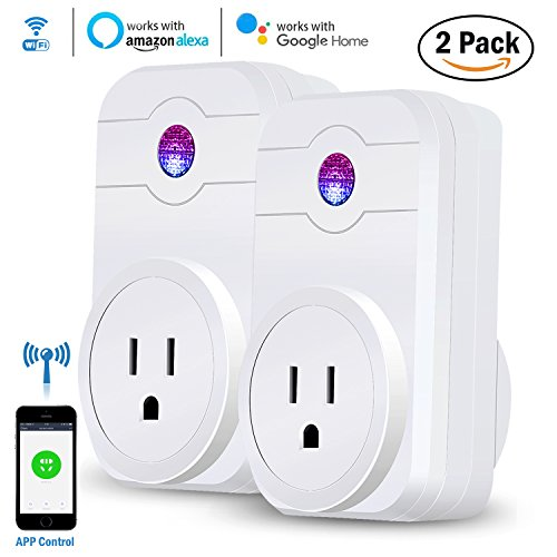 WiFi Smart Plugs, Esolom Wireless Outlet Timer Socket Compatible with Alexa and Google Assistant, App Controlled Appliances from Anywhere by Smartphone - NO Hub Required (2 Packs)