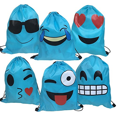 Blue Emoji Drawstring Backpack Bags for Party Favors Birthday, Gift for Kids Teens Boys and Girls, 6 Pack Cute Assorted Emoticon sacks, 17x13.5 Inch (43X34cm)