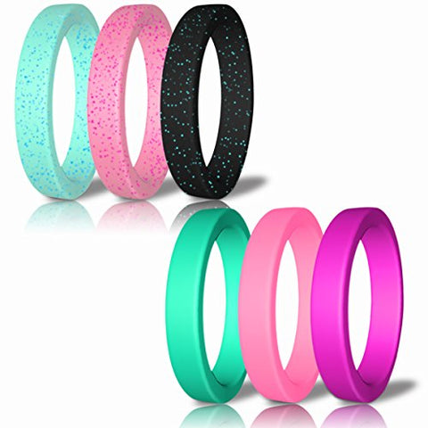 Silicone Wedding Ring For Women By DoerDo, Durable Rubber Sport Band For Active Style - 6 Rings Pack