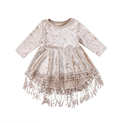 Vintage Princess Kids Baby Flower Girls Dress Silver Velvet Tassels Party Dresses Outfit (Silver, 2-3Years)