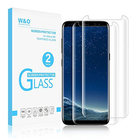 [2-Pack] Glass Screen Protector for Samsung Galaxy S8 Plus, W&O Samsung S8+ Tempered Glass Protector Film Curve Edge Crystal Clear Case Friendly