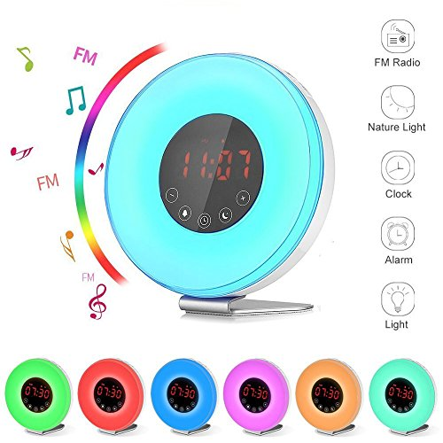 ArtDemo Wake Up Light Digital Sunrise Alarm Clock With Sunset Simulation  Touch Control Digital LED Clock 7 Colors/ 6 Natural Sounds/Snooze Function  /