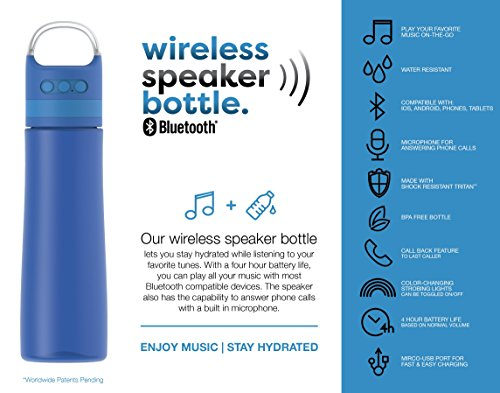 TAL Bluetooth Wireless Speaker 28 oz Water Bottle | With Micro-USB Port,  Strobe Lights, and Microphone for Answering Phone Calls | Compatible with