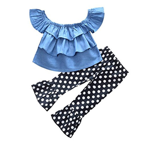 Jarsh Kids Baby Boys Girl Creative Off Shoulder Multi-Layer Ruffle Tops+Dot Flared Pants Clothes Set (4T(3-4Years Old))