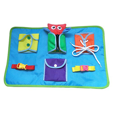 Yoovi Montessori Learn to Dress Boards Toddler Busy Board Kids Quiet Boards Baby Educational Travel Toys - Zip,Button, Buckle, Lace,Snap Early Learning Basic Life Skills Soft Toy