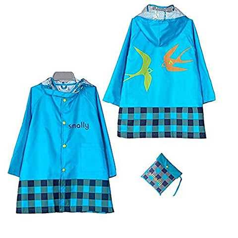 Kid Rain Coat, Cartoon Waterproof Children's Raincoat Lightweight for Ages 3-12 Years Old Girls and Boys 4 Size (XL, Blue)