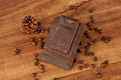 COWFEX Crysy horse Genuine leather Money Clip Slim Minimalist Wallet for  men RFID Blocking Best Front Pocket (Coffee)