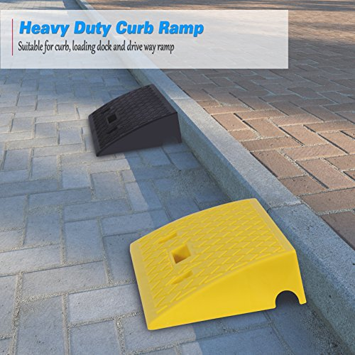 Pyle Portable Lightweight Curb Ramps - 2 Pack Heavy Duty Plastic Threshold  Ramp Kit Set - For Driveway, Loading Dock, Sidewalk, Car, Truck, Scooter,