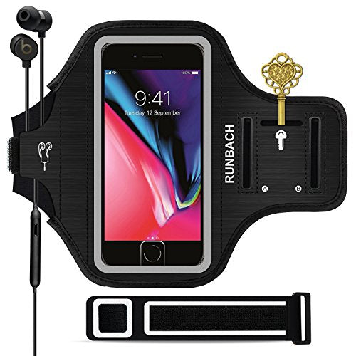 best website ebbdd ea466 iPhone 8 Plus Armband, Sweatproof Running Exercise Gym Fitness Cellphone  Sportband bag with [ Fingerprint Touch ][ Key Holder ][ Card Slot ] for ...