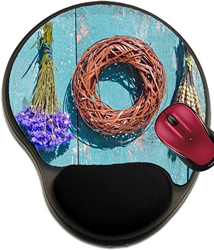 Liili Mousepad wrist protected Mouse Pads/Mat with wrist support design IMAGE ID 33584579 wheat cornflower and wooden wreath on old farm wall harvest symbols