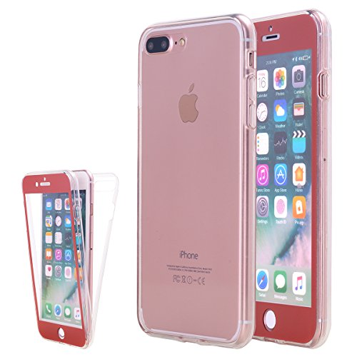 competitive price f2764 c3ac6 iPhone 8 Plus Case, iPhone 7 Plus Case, Lontect Slim Crystal Clear TPU Full  Body Protective Shock Absorbing Case with Built-In Screen Protector for ...