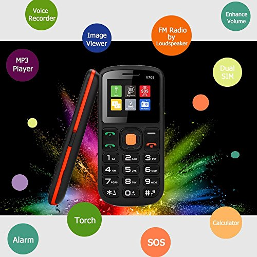 """Unlocked Cell Phone, UNIWA Dual SIM Senior Phone GSM Cell Phone 1 77"""" Large  Screen Big Digital Button Old Man Emergency Phone Easy to Use Features"""