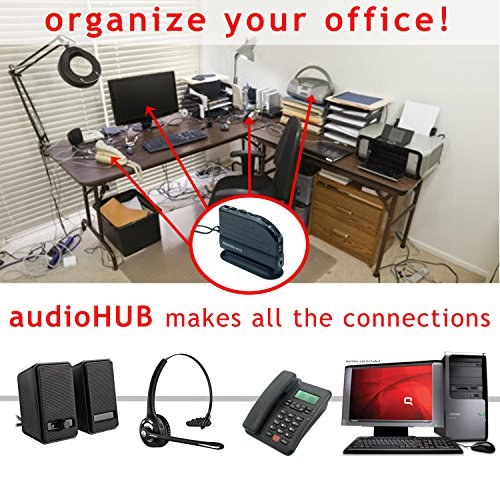 audioHUB Switch Box Connects Audio Speaker + PC + Landline Phone + Headset,  Convenient Universal Home Office 3-way Conferencing